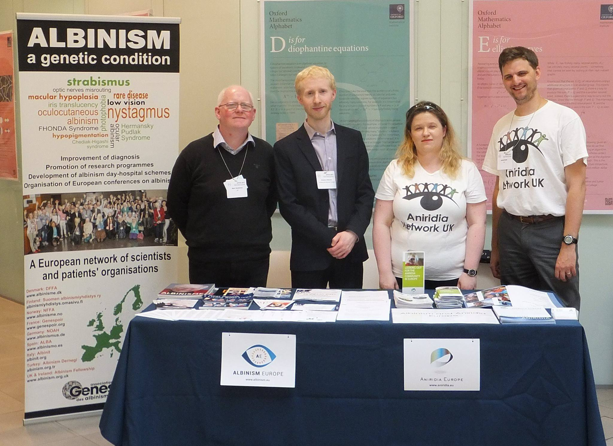Katherine Atkinson and James Buller represented Aniridia Europe on a stall shared with Antoine Gliksohn and Mark Sanderson from Albinism Europe at the European Paediatric Ophthalmological Society meeting.